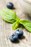 Green mint leaf with blueberry Royalty Free Stock Photo