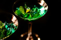 Green mint liqueur, refreshing drink with fresh mint, energizing. Cocktail, party night Royalty Free Stock Photo