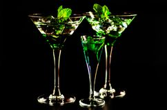 Green mint liqueur, refreshing drink with fresh mint, energizing. Cocktail, party night Royalty Free Stock Image