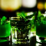 Green mint liqueur, refreshing drink with fresh mint, energizing. Cocktail, party night Royalty Free Stock Photography