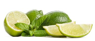 Green mint, two limes and two slices of a juicy lime on white background. Green mint, two limes and two slices of a juicy lime isolated on white background stock photography