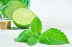 Green mint on wooden background Stock Images