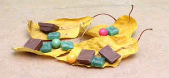 Green mints candy,chocolate and bubble gum Royalty Free Stock Photo