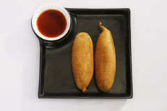Green Mirchi Pakora or Green Chilli Cutlet with Sauce Royalty Free Stock Images