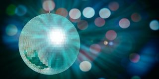 Green mirror disco ball in a bokeh background, copy space, 3d illustration vector illustration