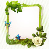Green mirror with rose Royalty Free Stock Images