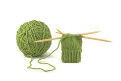 Green Mitten Project. Using Double Pointed Needles royalty free stock image