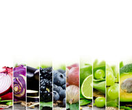 Green Mix. Photo of fruit and vegetable mix with green and blue colors and white space royalty free stock image