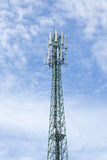 Green mobile phone pole with blue sky and cloud Stock Photography