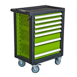 Green mobile tool`s trolley isolated Stock Photo