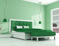 Green modern bedroom Stock Images