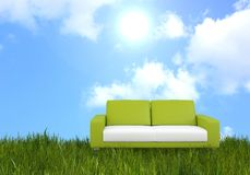 Green modern furniture on a nature background Royalty Free Stock Images