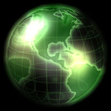 Green Modern Globe. 3d image of a green glowing globe Stock Photos