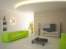 Green modern interior Royalty Free Stock Photo