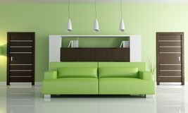 Green modern living room Royalty Free Stock Images
