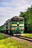 Green modern locomotive freight train Stock Photography