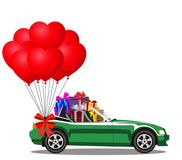 Cabriolet car full of gift boxes and bunch of red heart balloon. Green modern opened cartoon cabriolet car full of gift boxes and bunch of red helium heart Royalty Free Stock Image