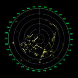 Green modern ship radar screen. With round map on black Stock Photography