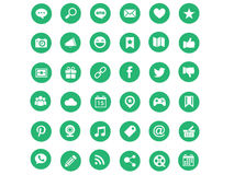 Green modern social media icons Stock Images