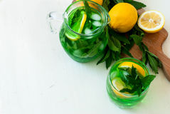 Green mojito cocktail with ice and mint Royalty Free Stock Images