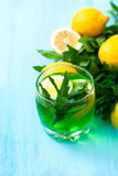 Green mojito cocktail with ice and mint Stock Photos
