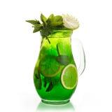 Green mojito. In a glass jar royalty free stock photos