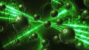 Green Molecular geometric chaos abstract structure. Science technology network connection hi-tech background 3d rendering illustra. Tion Royalty Free Stock Image