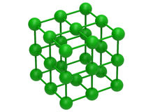 Green molecular structure. 3D render illustration of a green molecular structure. The composition is isolated on a white background with no shadows Stock Photos