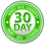 Green money back sign Stock Images