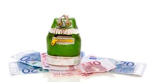 Green money- bag on banknotes Royalty Free Stock Images