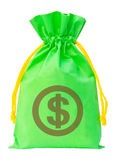 Green money bag with US dollar sign against white background Stock Photography