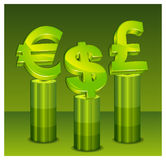 Green money pedestal Royalty Free Stock Images