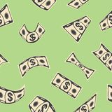 Green money seamless pattern. Seamless pattern with flying paper bills american dollar on green background. Concept of wealth and success, making money in Stock Photo