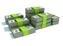 Green money stacks. Of $100 bills Stock Illustration