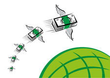 Green Money with wings flies fast over a green globe. Illustrations of Bundles of cash with wings flying over a symbolic globe. Vector and jpg versions available stock illustration