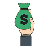 Green moneybag in the hand icon image Royalty Free Stock Images