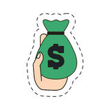 Green moneybag in the hand icon image Royalty Free Stock Image