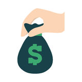 Green moneybag in the hand icon image Royalty Free Stock Photography