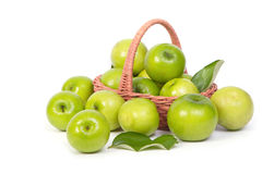 Green Monkey apple or jujubes in basket Royalty Free Stock Photography