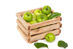 Green Monkey apple or jujubes in wooden crate Royalty Free Stock Photo