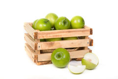 Green Monkey apple or jujubes in wooden crate Stock Photography