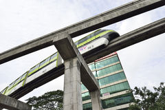 Green Monorail Leaving Station Royalty Free Stock Photo