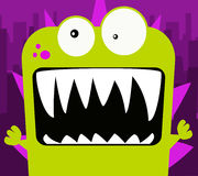 Green Monster. Vector style illustration of a cartoon lizard like monster. Green with a purple background stock illustration