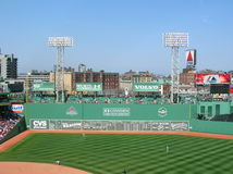 Green Monster. A view of the Green Monster at Fenway Park, Boston Stock Photos