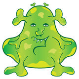Green Monster Cartoon Character. Green blob monster with a weird evil face cartoon character Stock Image