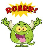 Green Monster Cartoon Emoji Character Roaring. Illustration Isolated On White Background With Text Stock Image