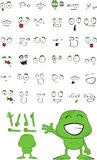 Green monster cartoon expressions set Royalty Free Stock Image