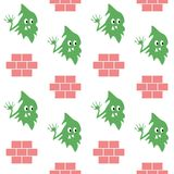 Green monster with brick seamless pattern royalty free illustration