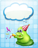 A green monster celebrating with an empty cloud template Royalty Free Stock Image