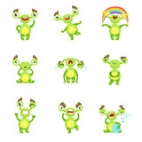 Green Monster Character Different Emotions And Situations Set Royalty Free Stock Images